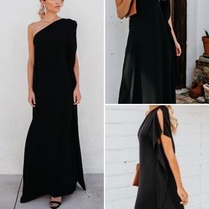 VICI Blown Away Statement One Shoulder Maxi Dress